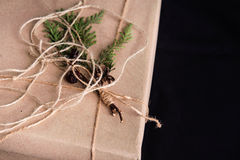 Gift box decorated with pine cones. Stock Image