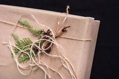 Gift box decorated with pine cones. Stock Photo