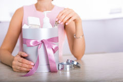 Gift box with cosmetics Royalty Free Stock Images