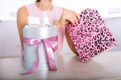 Gift box with cosmetics Stock Images
