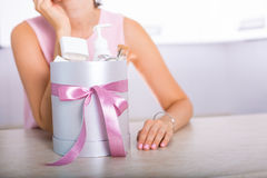 Gift box with cosmetics Royalty Free Stock Photo