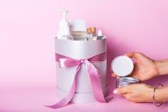 Gift box with cosmetics Stock Photo