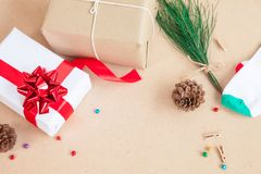 Gift box and decoration items of Christmas day and. Holiday day concept etc on top view Stock Photography