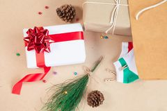 Gift box and decoration items of Christmas day. And holiday day concept etc on top view Stock Image