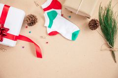 Gift box and decoration items of Christmas day. And holiday day concept etc on top view Royalty Free Stock Photo