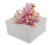 Gift box with decoration ribbon Royalty Free Stock Photography