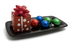 Gift box and decorative ball Stock Image