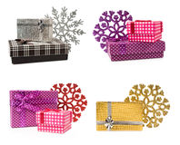 Gift box with a decorative snowflake Stock Image