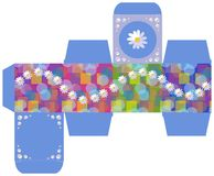 Gift box design with daisy flowers on abstract background. Vector template Stock Image