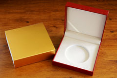 Gift box on desk Royalty Free Stock Photography