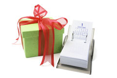 Gift Box and Desk Calendar Royalty Free Stock Image