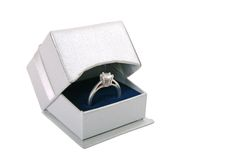 Gift box with diamond ring Royalty Free Stock Images