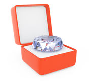 Gift box with diamond Stock Images