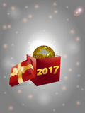 Gift box and disco ball background 2017 Stock Photos