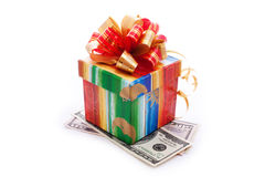 Gift box with dollar bills Royalty Free Stock Photography