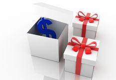 Gift box with dollar Royalty Free Stock Images