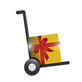 Gift box on a dolly. illustration design Royalty Free Stock Photos