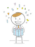 Gift Box. Doodle stick figure holding a gift box Royalty Free Stock Image