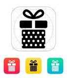 Gift box with dots icons on white background. Stock Photos