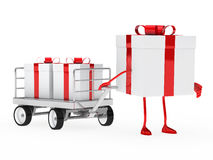 Gift box draws a trolley Stock Photo