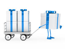 Gift box draws a trolley. Blue white gift box draws a trolley Royalty Free Stock Images
