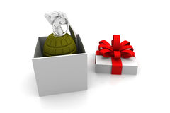 Gift box with dynamite inside Royalty Free Stock Image