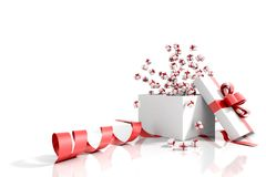 Gift box emitting little gift boxes greeting card. With a red ribbon on a white  background Royalty Free Stock Image