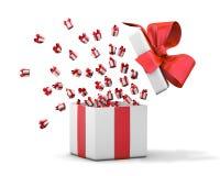 Gift box emitting little gift boxes Stock Photos