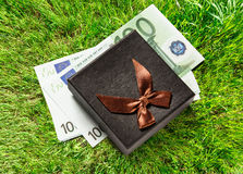 Gift box with euro banknotes Royalty Free Stock Photo