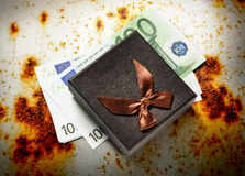 Gift box with euro banknotes Stock Photo