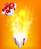Gift Box Explosion Concept. For an exciting birthday, Christmas or other gift or present Royalty Free Stock Photos