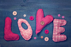 Gift box and fabric letters Royalty Free Stock Image