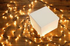 Gift Box and Fairy Lights Stock Image