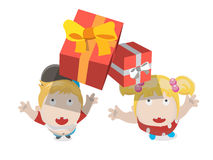 Gift box falling to boy and girl -  Stock Photography