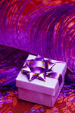 Gift box with  feather Stock Images