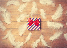 Gift box and feathers Royalty Free Stock Photos
