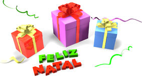 Gift box with Feliz Natal Royalty Free Stock Photography