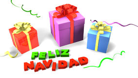 Gift box with Feliz Navidad Stock Photo