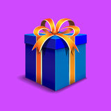 Gift box. Festive gift box blue. Tied with orange ribbon with a bow on top. Packing for a gift Royalty Free Stock Images