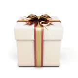 Gift box with festive bow. On white background Stock Image