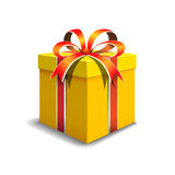 Gift box. Festive gift box yellow color. Tied with orange ribbon with a bow on top. Packing for a gift stock illustration