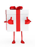 Gift box figure. Christmas red white gift figure thumb up Royalty Free Stock Image