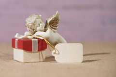 Gift box with figure Stock Images