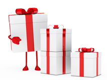 Gift box figure point. Christmas red white gift box figure point Stock Photos
