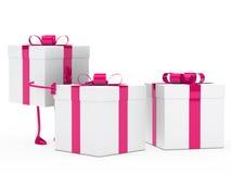 Gift box figure push. Christmas pink white gift box figure push Royalty Free Stock Image