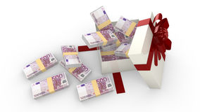 Gift box filled with 500 euro banknotes  on white. 3D illustration Royalty Free Stock Image