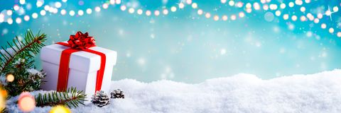 Christmas Gift In The Snow stock photography