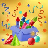 Gift Box Firecrackers Composition. Fireworks composition of realistic gift box filled with firecrackers confetti sparkler balls and party hats vector Royalty Free Stock Image