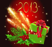 Gift box and firework. Christmas background with gift box and firework Stock Images