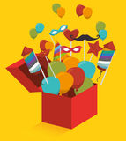 Gift box with fireworks and balloons. Graphic design,  illustration Stock Image